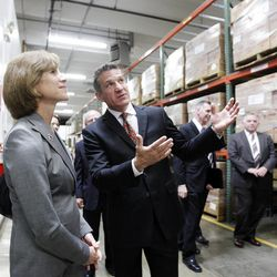 American Red Cross CEO Gail McGovern, left, tours Welfare Square with managing director Rick Foster in Salt Lake City  Wednesday, June 20, 2012. A new partnership was announced with the LDS Church.
