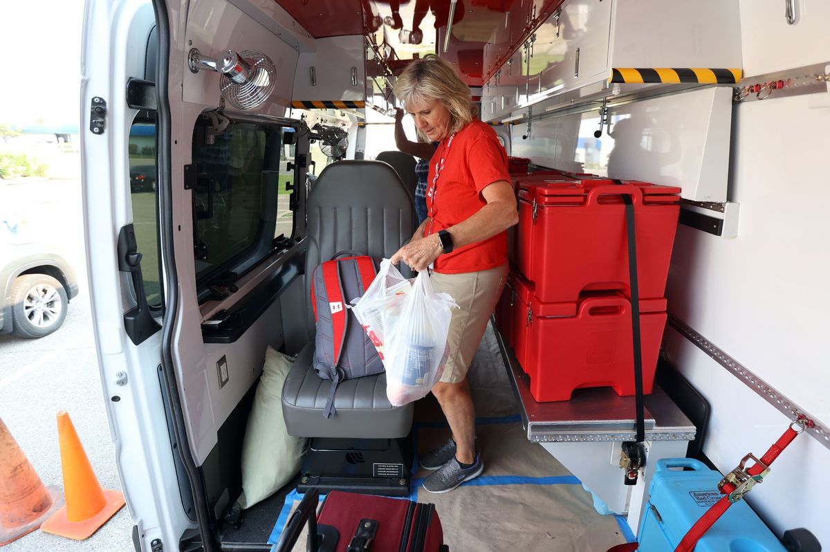 Red Cross volunteer Shelley Smedley loads up a Red Cross van in Murray on Tuesday, Aug. 31, 2021, before heading to Louisiana to help in the aftermath of Hurricane Ida.