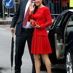 Wearing a red Alexander McQueen ensemble during the Queen Elizabeth's Diamond Jubilee on June 3rd, 2012.