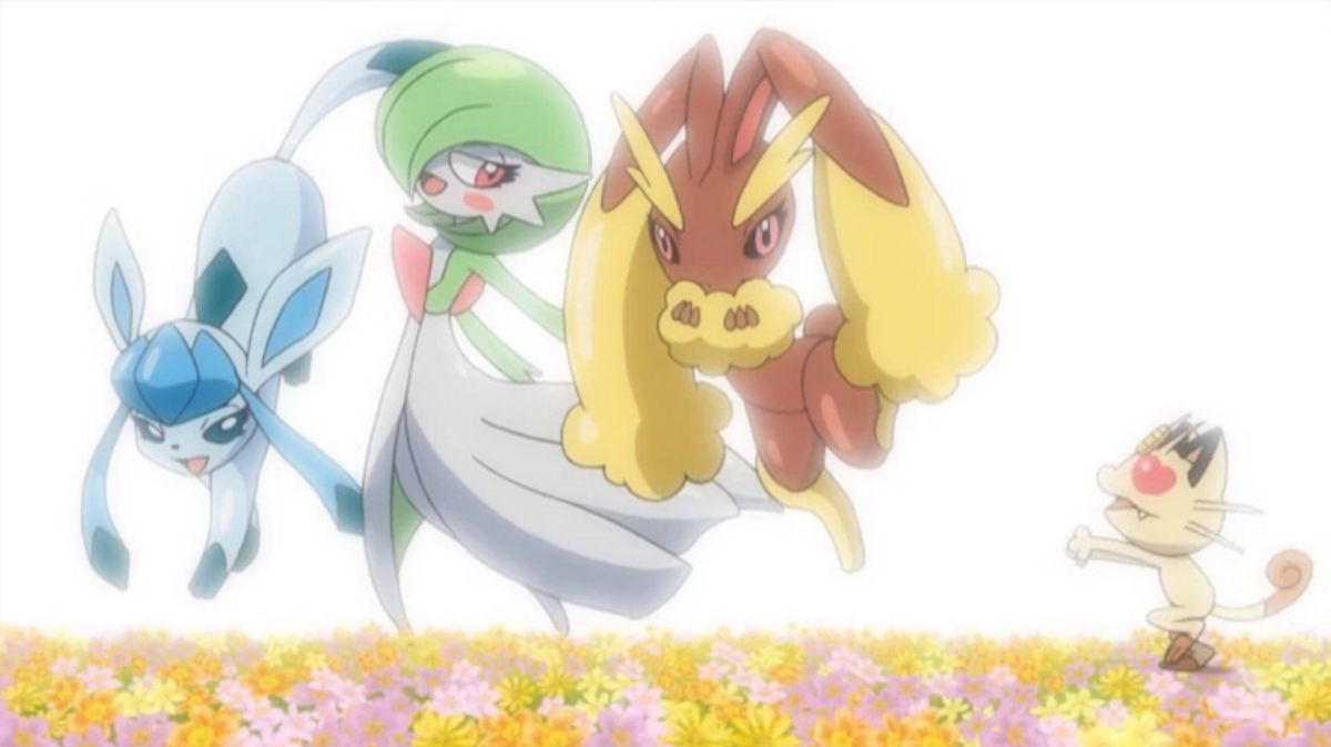 Meowth chases a Glaceon, a Gardevoir, and a Lopunny in a flowery field, though it's just a hallucination
