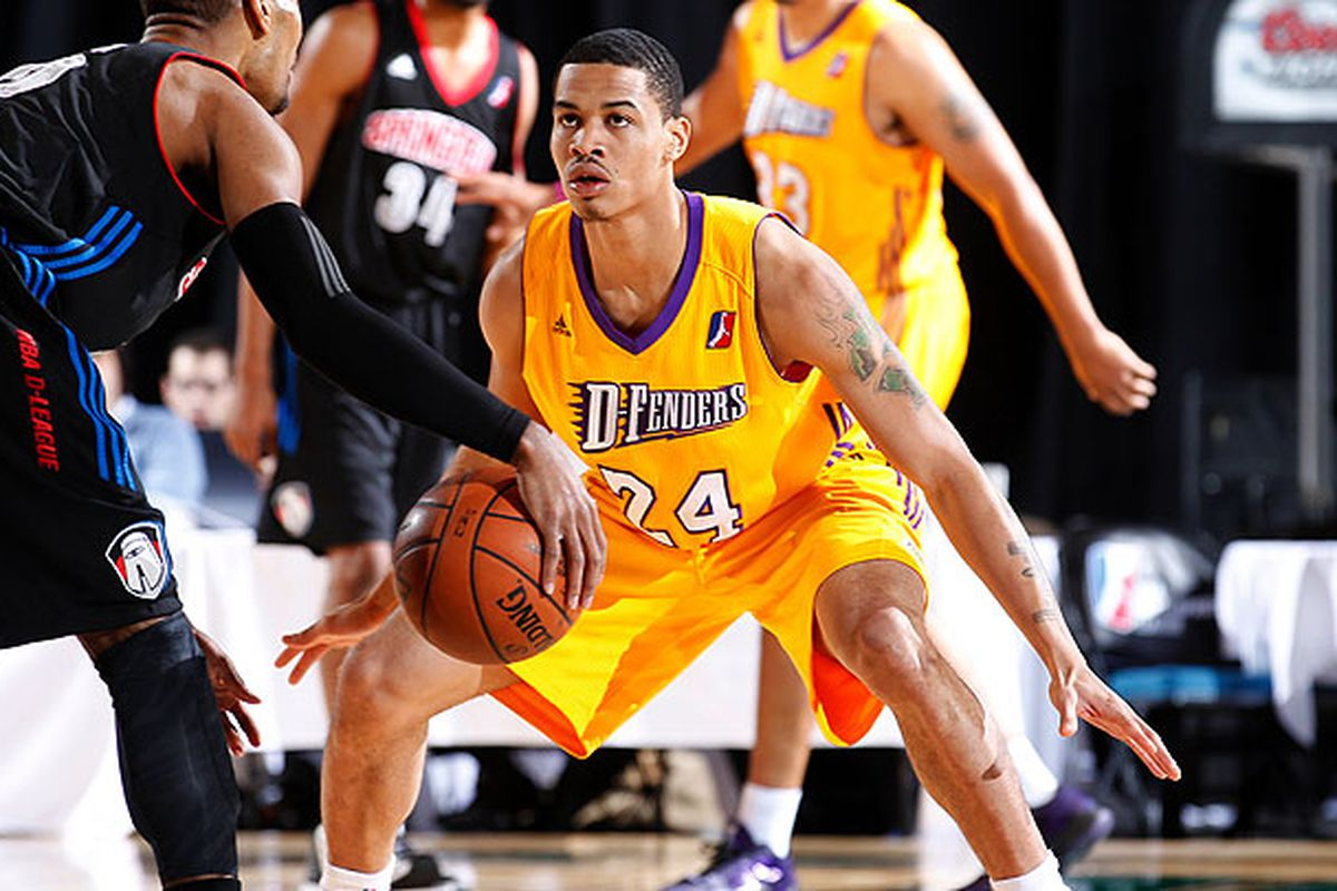 Gerald Green being a defender for the NBA D-League's Los Angeles D-Fenders.<em> Photo credit: Jack Arent/NBAE/Getty Images</em>