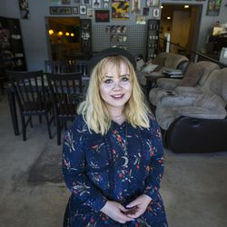 Dorothy McGinnis poses for a portrait at the Watchtower Cafe in Salt Lake City on Monday, July 31, 2017. McGinnis is an 19-year-old poet who will be competing in the National Poetry Slam in Colorado for the second year in a row in August.