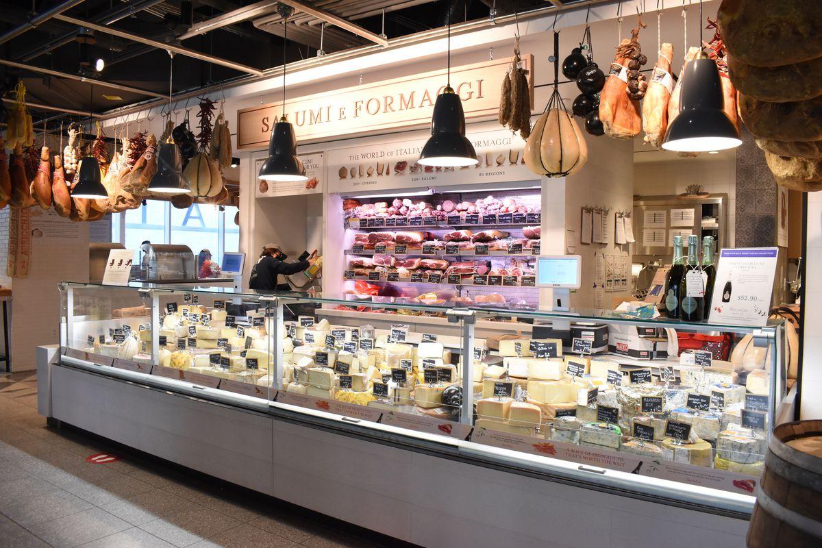The salumi and cheese counter at Eataly Dallas