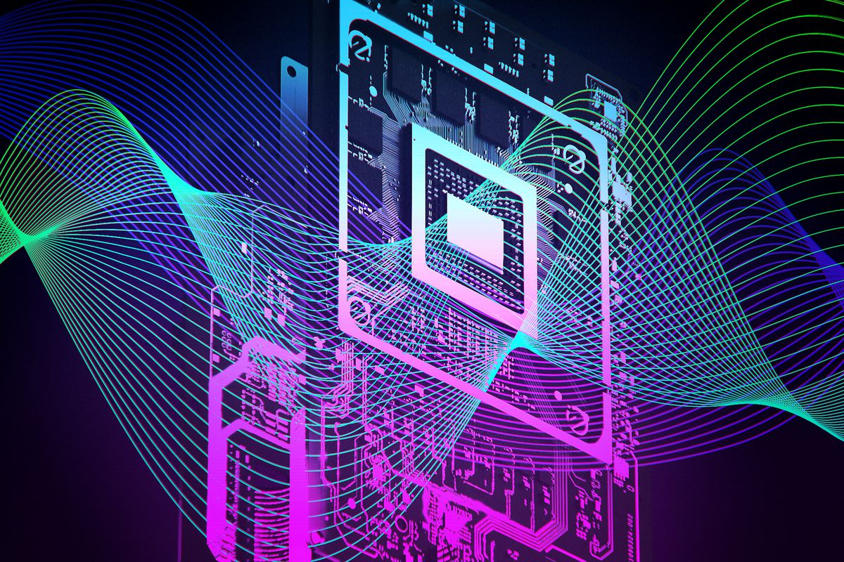 graphic illustration of an Xbox Series X motherboard using graphic wavy lines with intense blue, green and purple colors