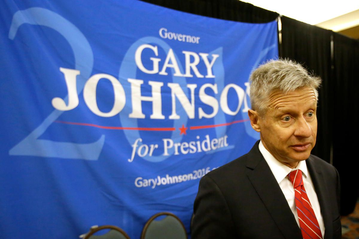 FILE - In a Friday, May 27, 2016 file photo, Libertarian presidential candidate Gary Johnson speaks to supporters and delegates at the National Libertarian Party Convention, in Orlando, Fla. Omn Sunday, May 29, 2016, The Libertarian Party again nominated