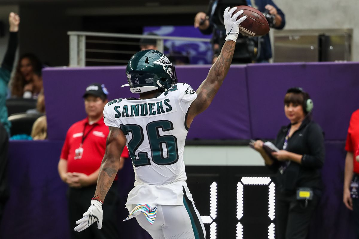 Philadelphia Eagles running back Miles Sanders celebrates after scoring a touchdown against the Minnesota Vikings during the second quarter at U.S. Bank Stadium.