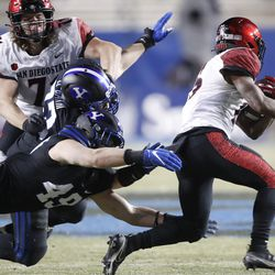 San Diego State running back Jordan Byrd (15) runs out of the tackle of BYU linebacker Payton Wilgar (49) in the first half of an NCAA college football game against Saturday, Dec. 12, 2020, in Provo, Utah.