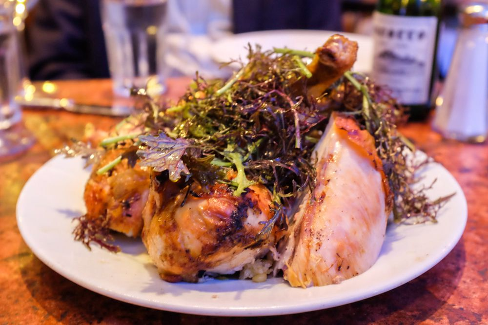 Zuni's famous chicken with bread salad