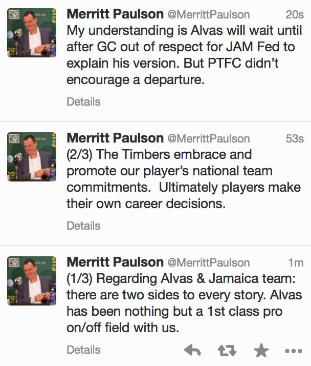 Merritt Paulson on Alvas Powell leaving Jamaica during the Gold Cup. 7/17/15