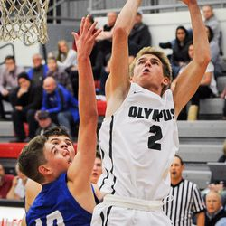 During the game between the Bingham High Miners and the Olympus High Titans in a quarterfinal matchup of Utah Elite 8 in American Fork on Thursday, Dec. 7, 2017.
