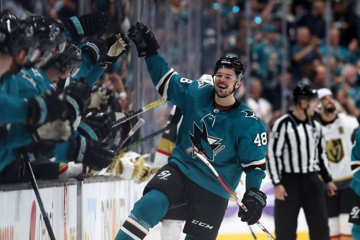 Tomas Hertl of the San Jose Sharks is congratulated by teammates after he scored his second goal of the night on Marc-Andre Fleury of the Vegas Golden Knights in the third period in Game 5 of the First Round during the 2019 NHL Stanley Cup Playoffs