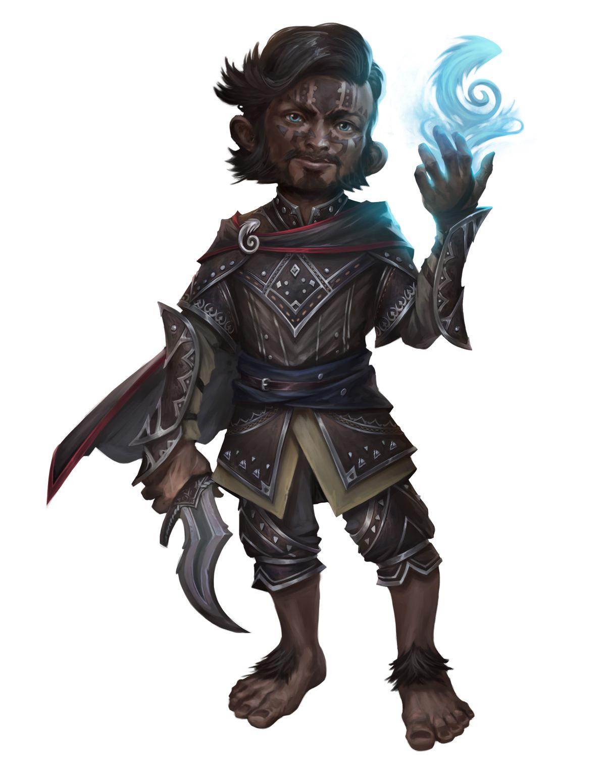 A halfling cleric from the Pathfinder Core Rulebook, second edition. He stands barefoot and has face tattoos. He holds a long, curved dagger with exotic armor to match.