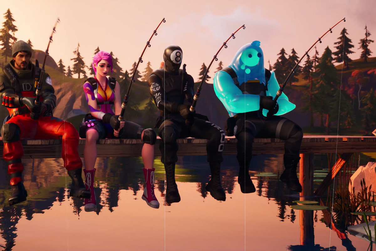 4 Fortnite players fishing off a dock in Fortnite Chapter 2