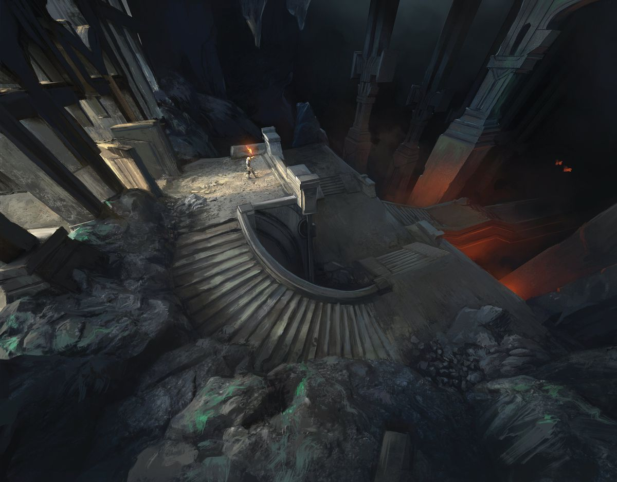 An adventurer stands on the precipice of a vast and deadly dungeon.