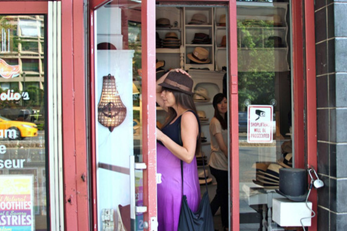"""Houston Street hat shop via <a href=""""http://www.flickr.com/photos/michellerick/5766772765/in/pool-312691@N20/"""">Michelle Rick</a>/Racked Flickr Pool. Want to contribute? Join <a href=""""http://www.flickr.com/groups/rackedny/pool/with/5766772765/"""">here<"""
