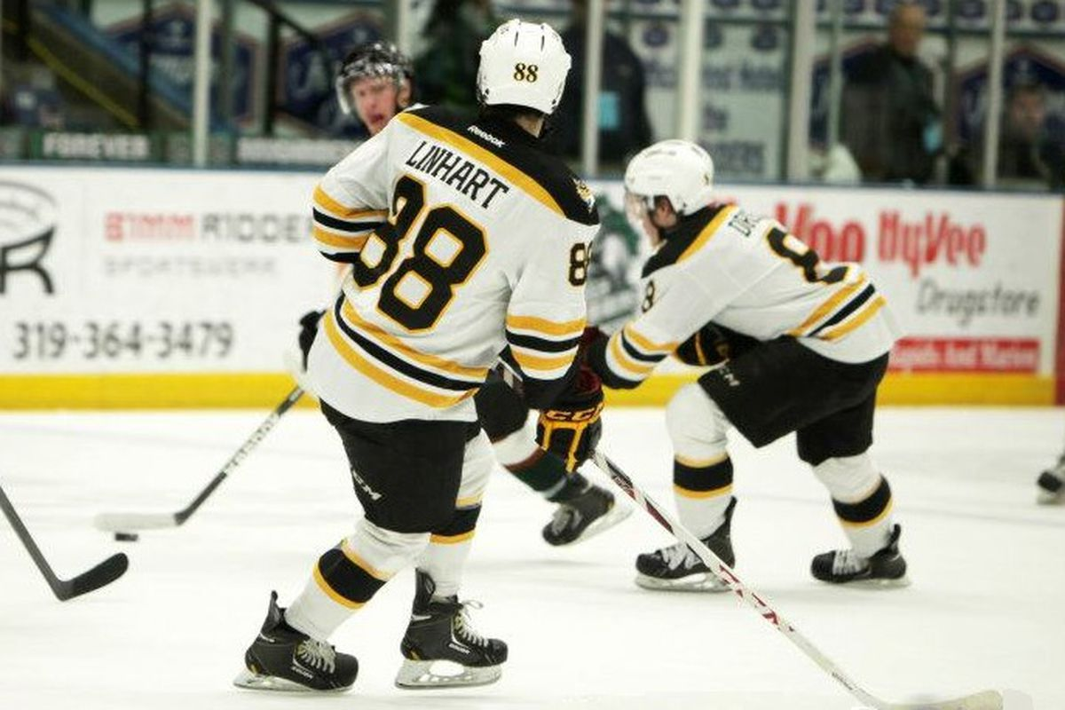 2014 recruit Jake Linhart will be back with the Green Bay Gamblers this year.