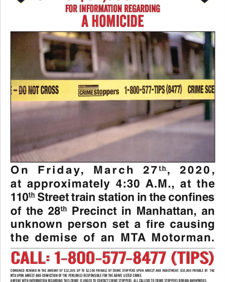 Reward poster in death of subway motorman
