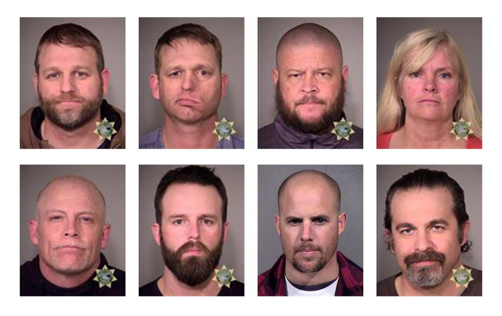 Eight people who were involved in the occupation of the headquarters of the Malheur National Wildlife Refuge were arrested on Tuesday, Jan. 26, 2016. Top row from left: Ammon Bundy, Ryan Bundy, Brian Cavalier and Shawna Cox. Bottom row from left: Joseph D