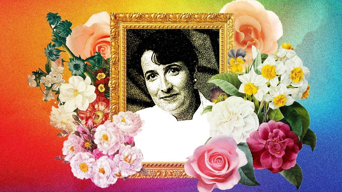 A photo-illustration of Elka Gilmore: a framed portrait of the chef surrounded by flowers, with a rainbow color motif
