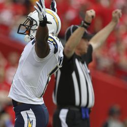 San Diego Chargers wide receiver Eddie Royal (11) celebrates a touchdown during the first half of an NFL football game against the Kansas City Chiefs at Arrowhead Stadium in Kansas City, Mo., Sunday, Sept. 30, 2012.
