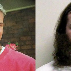 This composite image shows James Norman Jr., during college, from before his parents say mental illness set in, left, and on the right in a mugshot from February 2010.