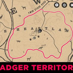 Badger location maps from Red Dead Redemption 2