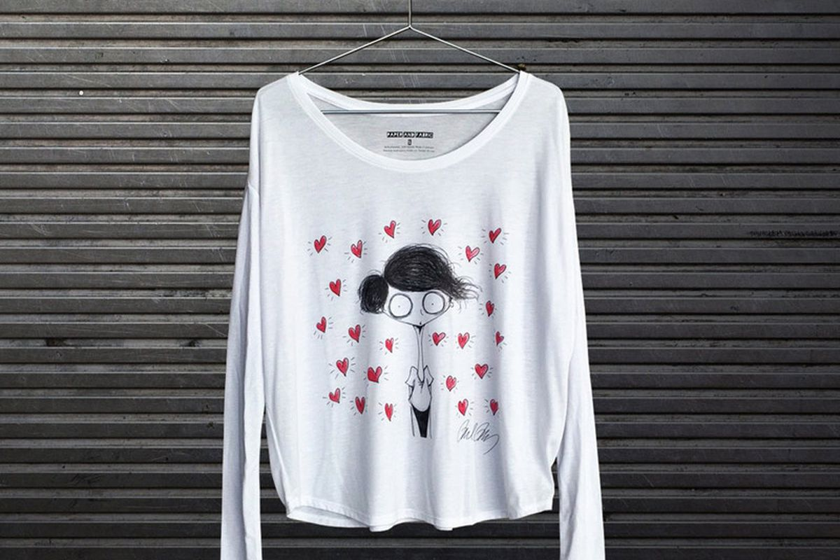 """Photo: <a href=""""http://paperandfabric.com/collections/frontpage/products/the-heart-womens-long-sleeve-signed-print"""" target=""""_blank"""">Paper and Fabric</a>"""