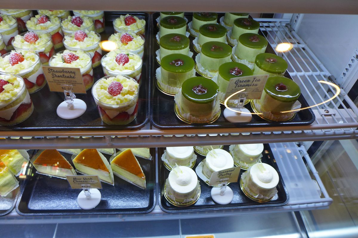 Pastries from Cafe Japon, including green tea tiramisu