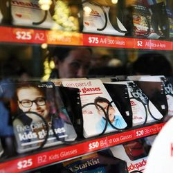 Selections for donation are listed inside one of the charity vending machines at the Joseph Smith Memorial Building in Salt Lake City on Friday, Dec. 15, 2017.