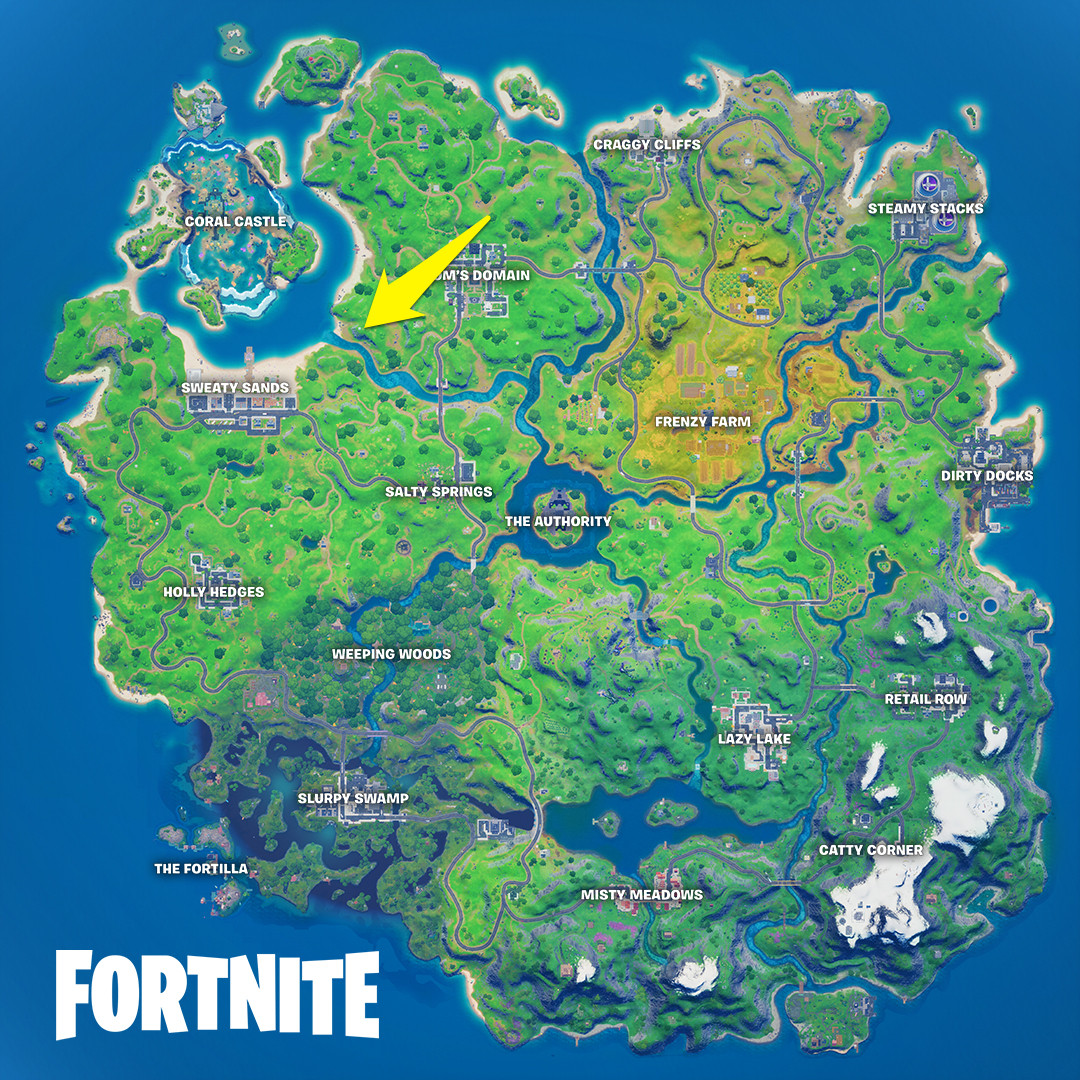 The location of the week 2 Fortnite Wolverine season 4 challenges for the loading screen and Quinjet Patrol site
