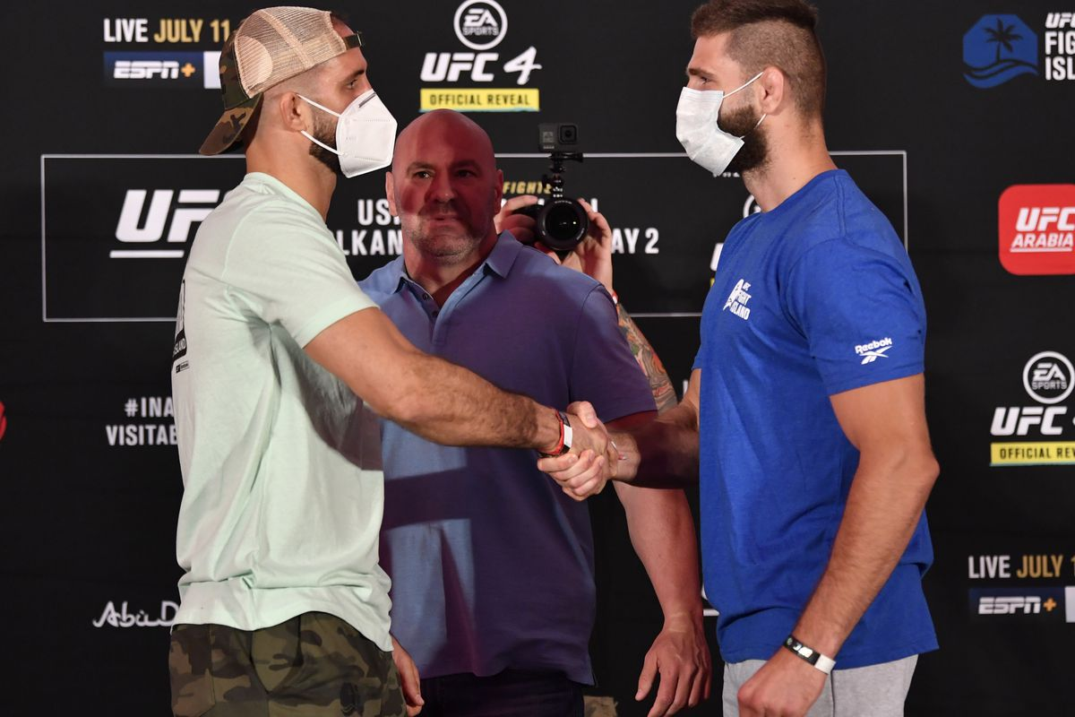 Opponents Volkan Oezdemir of Switzerland and Jiri Prochazka of the Czech Republic face off during the UFC 251 official weigh-in inside Flash Forum at UFC Fight Island on July 10, 2020 on Yas Island Abu Dhabi, United Arab Emirates.