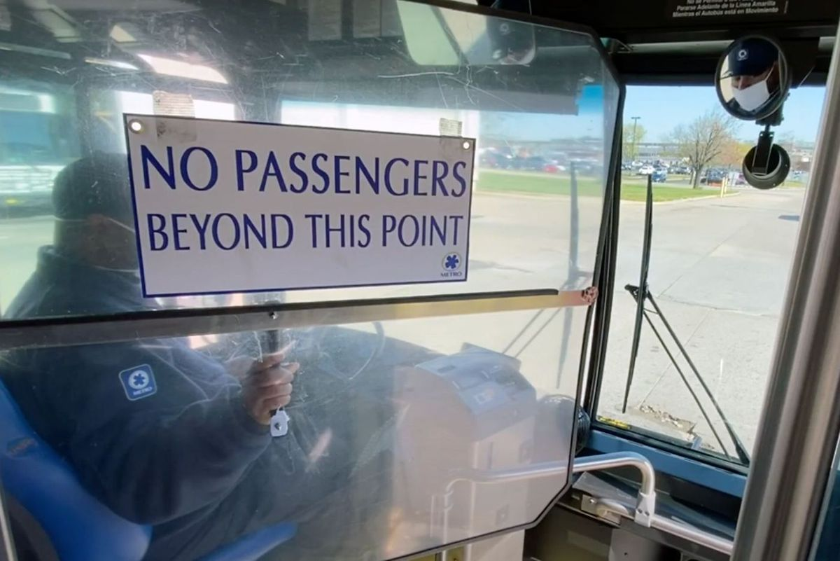 Cincinnati officials installed protective guards on city buses during the coronavirus outbreak.