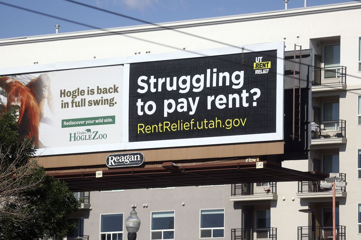 A billboard for RentRelief.utah.gov is pictured on 400 South in Salt Lake City on Thursday, June 3, 2021.