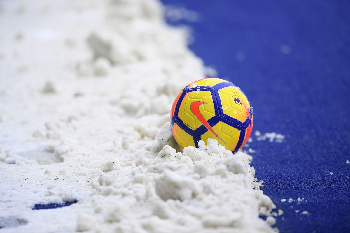 Soccer ball in Snow - Festive Period - Premier League