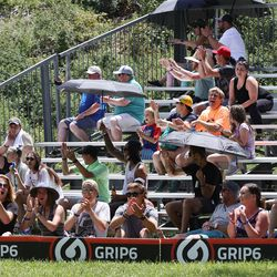 Fans watch during the Professional Disc Golf World Championships at Fort Buenaventura Park in Ogden on Saturday, June 26, 2021.