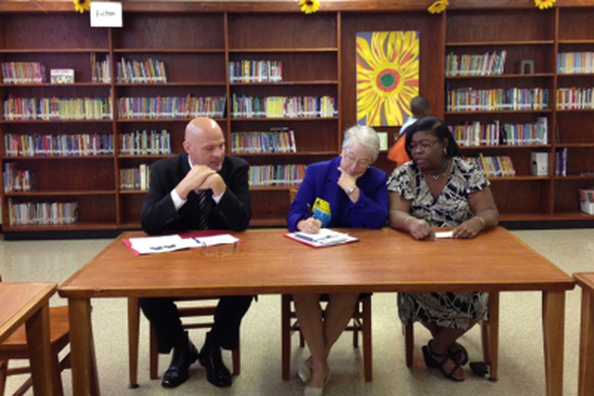 Michael Mulgrew, Carmen Fariña and P.S. 206 Principal Camille Forbes last year.