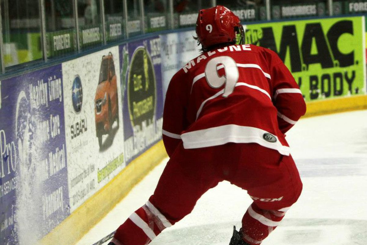 Seamus Malone plays the puck behind the net in a USHL game last season.