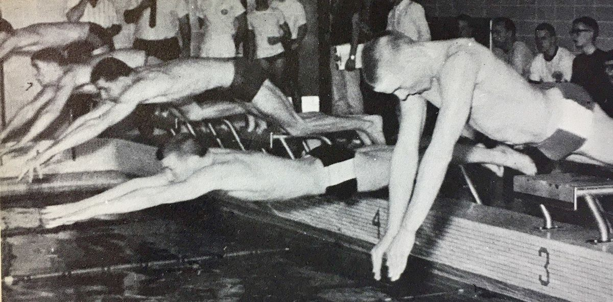 George F. Wendt (far right, in lane 3) competing for Fenwick High School during a 1965 swim meet.