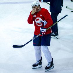 T.J. Oshie shares a laugh at Capitals morning skate.
