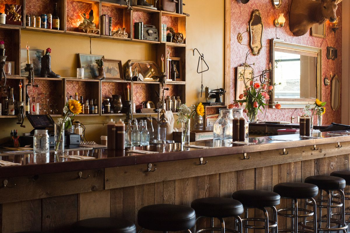 The bar at the Smokehouse Tavern barbecue restaurant