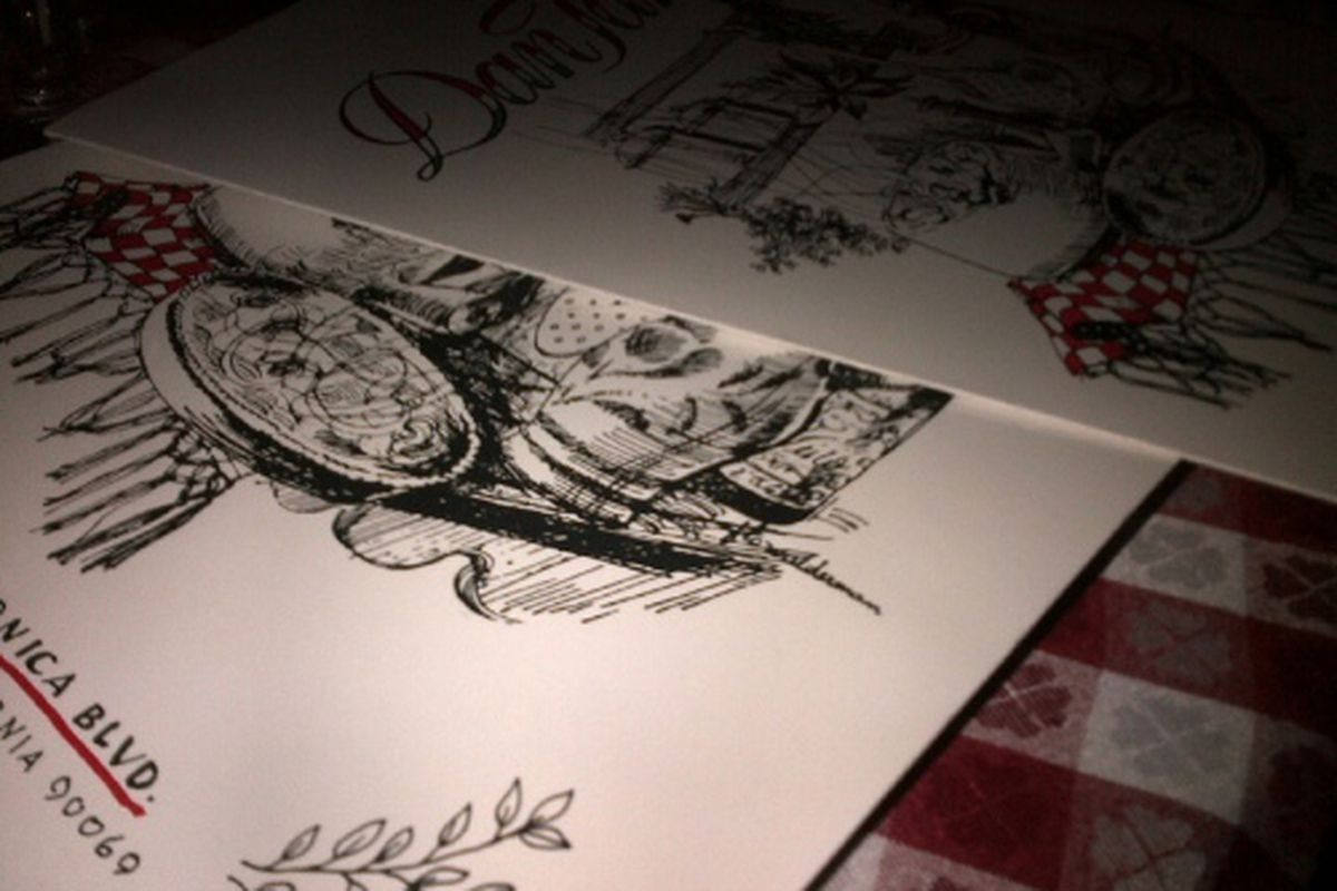 Menus at Dan Tana's, West Hollywood.