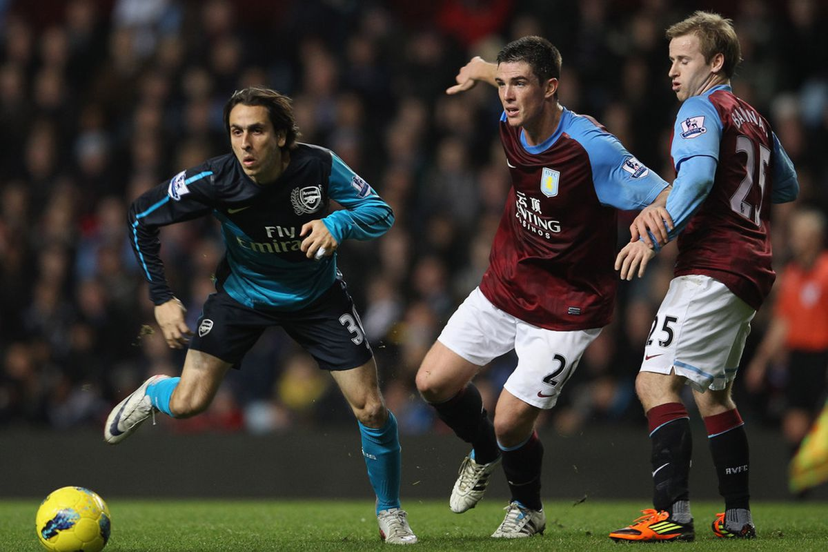 BIRMINGHAM, ENGLAND - DECEMBER 21:  Yossi Benayoun of Arsenal in action during the Barclays Premier League match between Aston Villa and Arsenal at Villa Park on December 21, 2011 in Birmingham, England.  (Photo by Clive Mason/Getty Images)