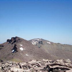 The view from the top of South Kings Peak, which is 13,512 feet tall, looking back to Kings Peak, Gunsight Peak and Gilbert Peak.