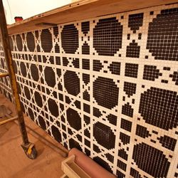 Deco-inspired tile work on the private event room's dedicated bar.