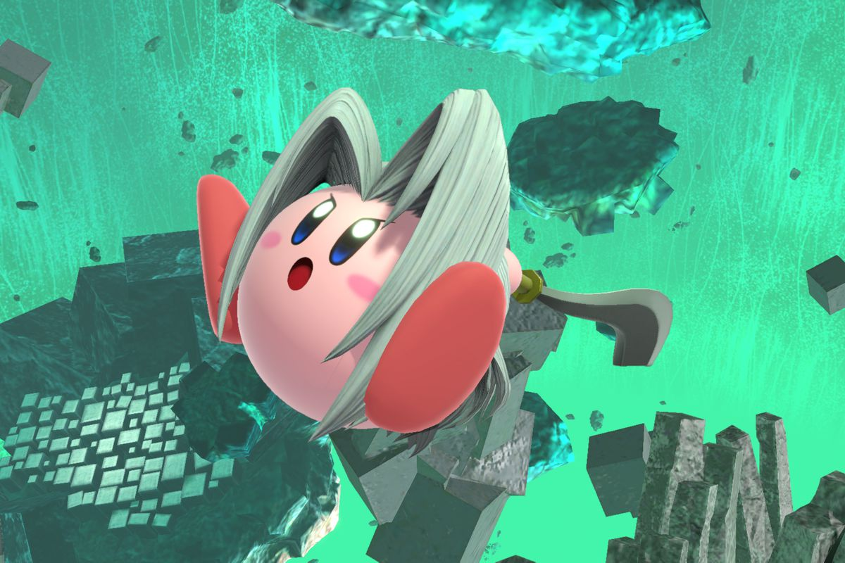 Kirby, after he inhales Sephiroth in Smash Bros. Ultimate.