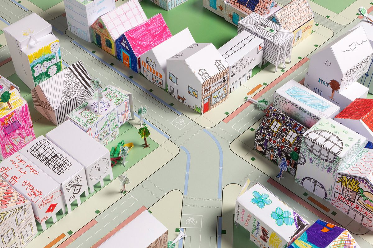 View of paper city from above.