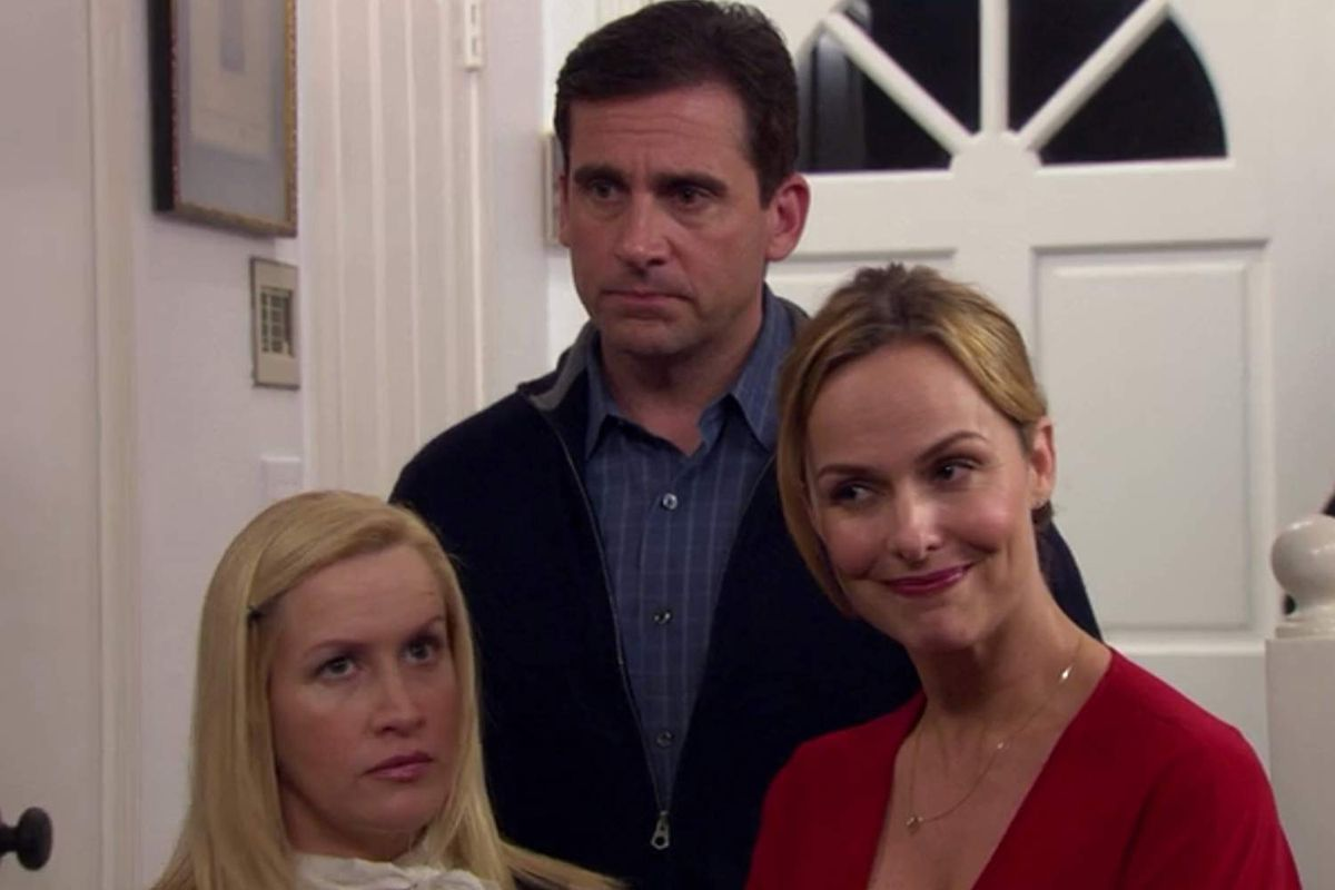 Angela, Michael, and Jan in 'The Office'