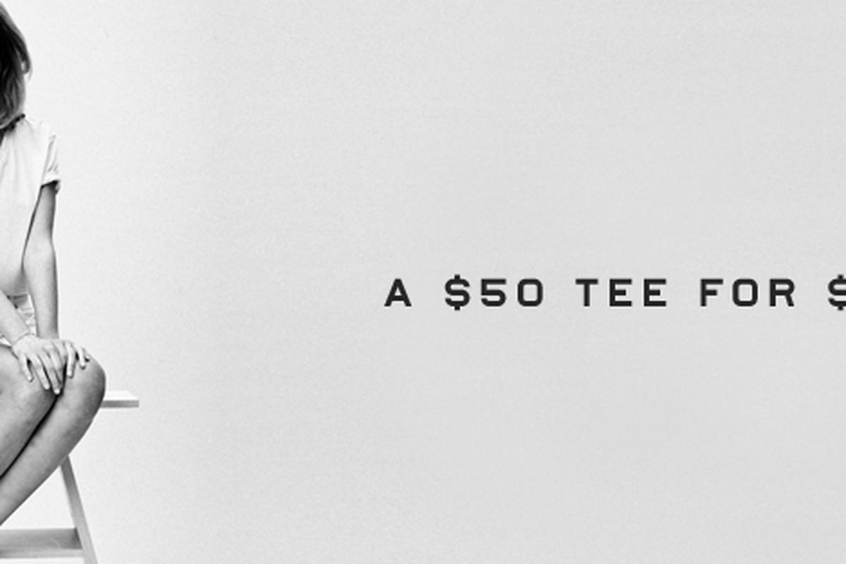"Everlane's tagline: ""A $50 tee for $15"""