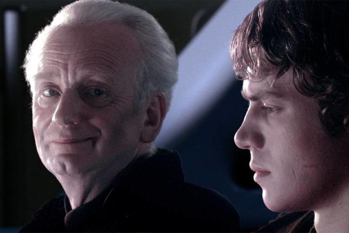 Emperor Palpatine fills Anakin Skywalker with stories of the Sith.