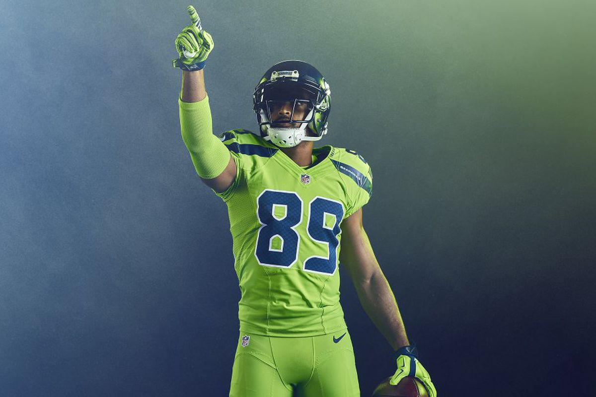 buy online cfa77 a423b Seahawks reveal color rush uniforms, can confirm they are ...